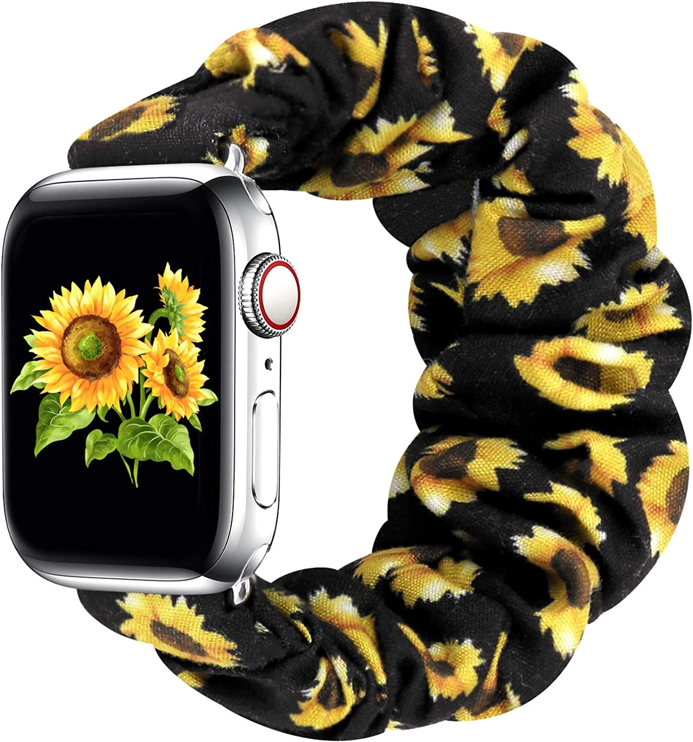 Greatfine Compatible for Apple Watch Band Scrunchie 38mm 40mm 42mm 44mm,Soft Elastic Strap Watch Bands,With iWatch Series 5 4 3 2 1,S M L Printing Replacement Wristband for Women Men