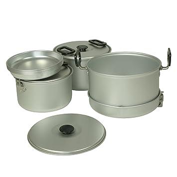 10T Woodman - Juego de cacerolas, sartenes y platos de 12 piezas, con tapaderas de aluminio: Amazon.es: Deportes y aire libre