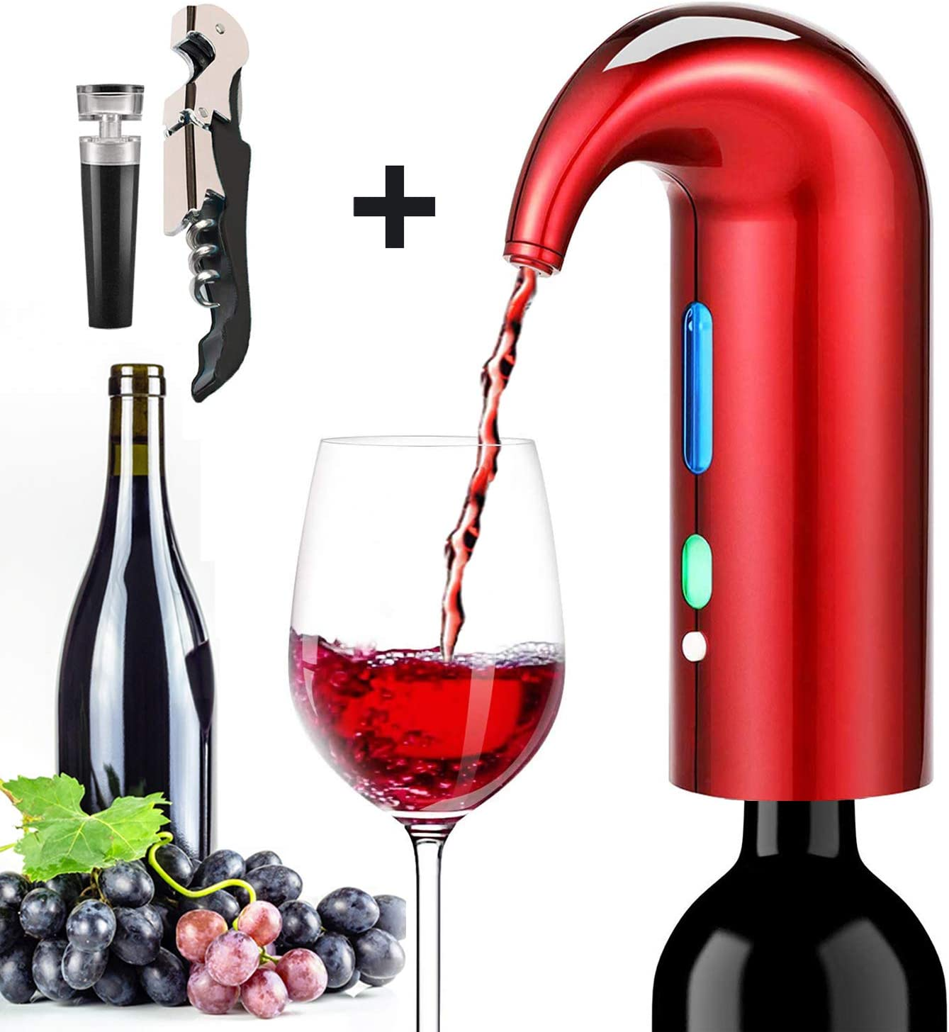 Electric Wine Aerator Pourer, Stopper Multi-Smart Automatic Filter Wine Dispenser - Premium Aerating Pourer and Decanter Spout - wine preserver(Lucky red)