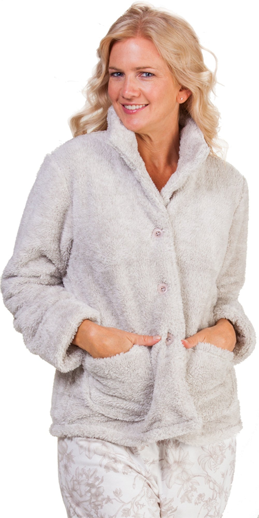 La Cera Mandarin Collar ''Deluxe Snuggle Fleece'' Bed Jacket in Taupe (Large (14-16), Taupe)
