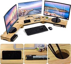 Sunix Wood Monitor Riser 3 Shelf Monitor Stand Desktop Screen Stand for Triple Desktop Laptop Computer Screen Desktop Organizer