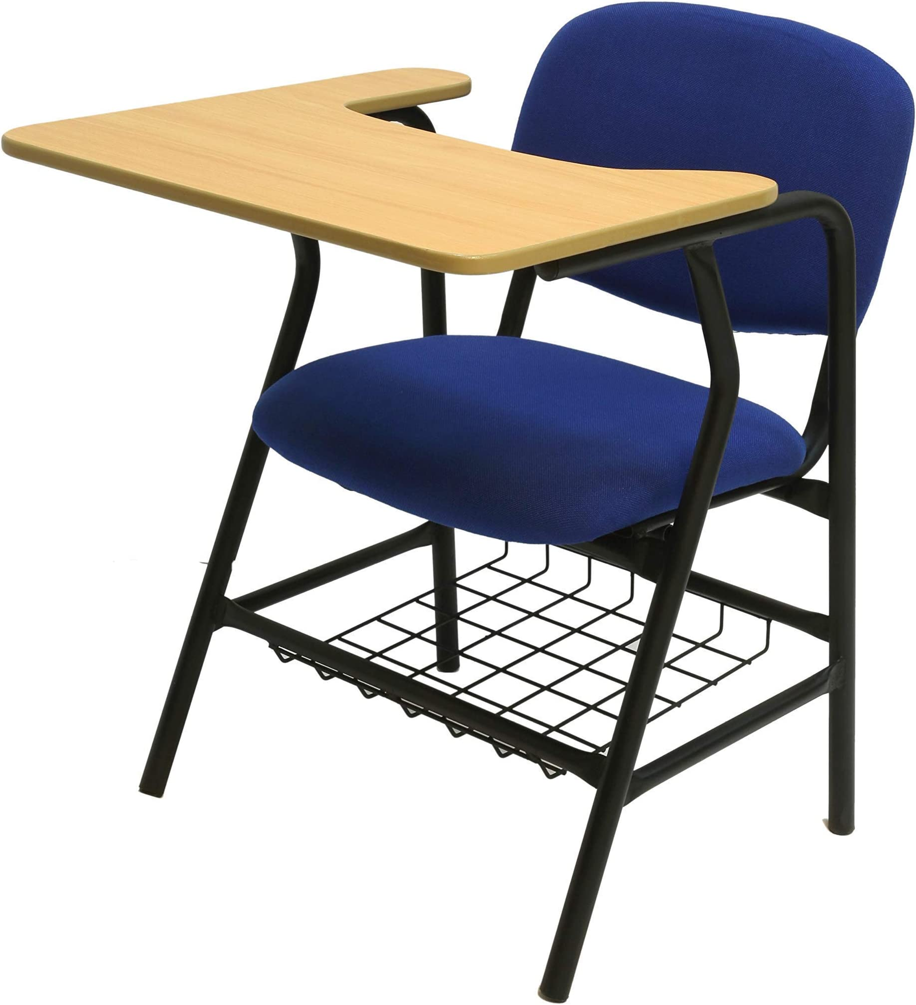 BLUE COLLEGE STUDY CHAIR WITH WRITING TABLE ON METAL FRAME