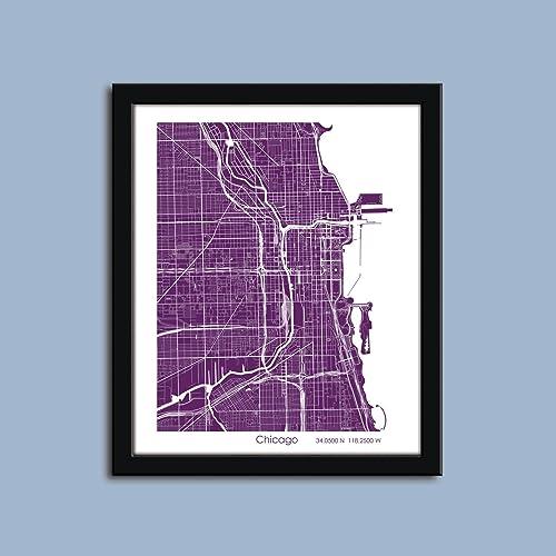 Amazon.com: Chicago map, Chicago city map art, Chicago wall art ...