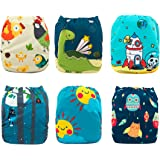 Babygoal Baby Cloth Diapers Washable Pocket Nappy, 6pcs Cloth Diapers+6 Inserts+One Wet Bag,Boy Color 6FB15