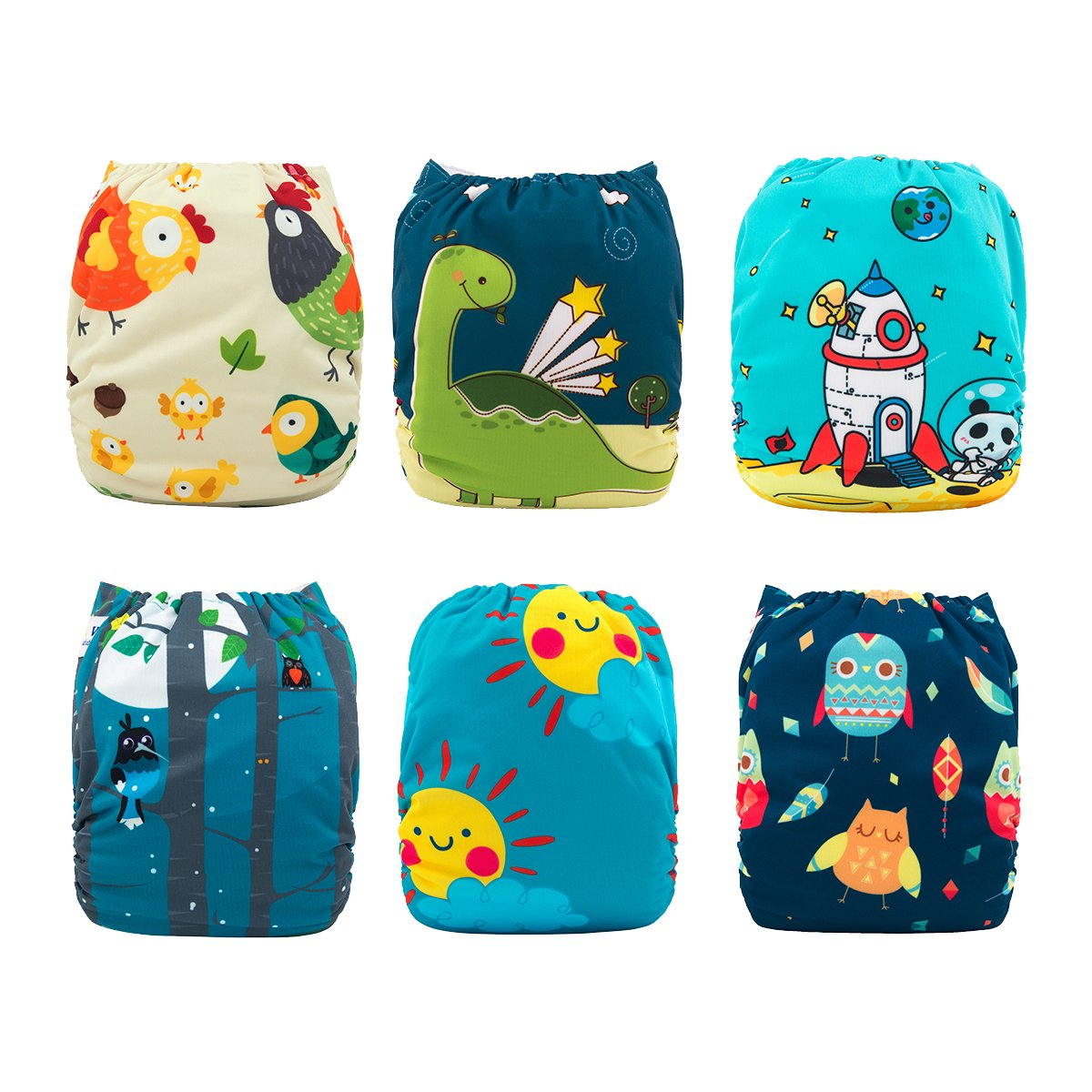 Babygoal Baby Cloth Diapers Washable Pocket Nappy, 6pcs Cloth Diapers+6 Inserts+4pcs Bamboo Inserts,Boy Color 6FB15