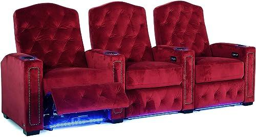 Octane Regal XL250 Power Recline Sangria Microfiber Home Theater Seating Set of 3