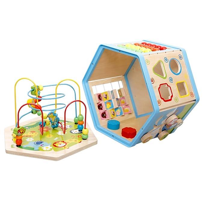 Lewo Grande 8 en 1 cubo Centro de actividades de madera del laberinto del grano Primeros niños que aprenden el juguete Juguetes educativos para bebés Niños: ...