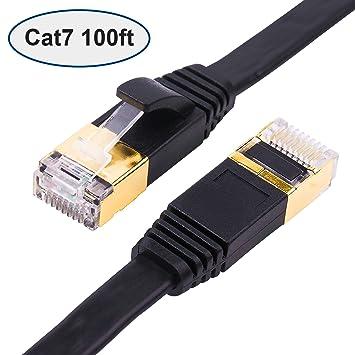 amazon com cat 7 ethernet cable 100 ft black flat with cable clipscat 7 ethernet cable 100 ft black flat with cable clips, shielded rj45 connectors