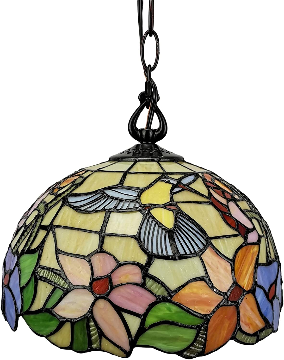 Tiffany Style Hanging Pendant Lamp 12 Wide Stained Glass Shade Yellow Green Red Hummingbird Floral Vintage Light Decor Restaurant Living Dining Room Kitchen Gift AM1082HL12B Amora Lighting