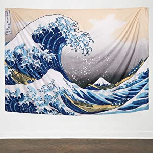 IcosaMro Wave Tapestry Wall Hanging - Kanagawa Wall Art [60x82.7&Hemmed Edges], Hokusai Ocean Sea Wall Blanket Japanese Home Decor for Bedroom College Dorm, The Great Wave Off Kanagawa