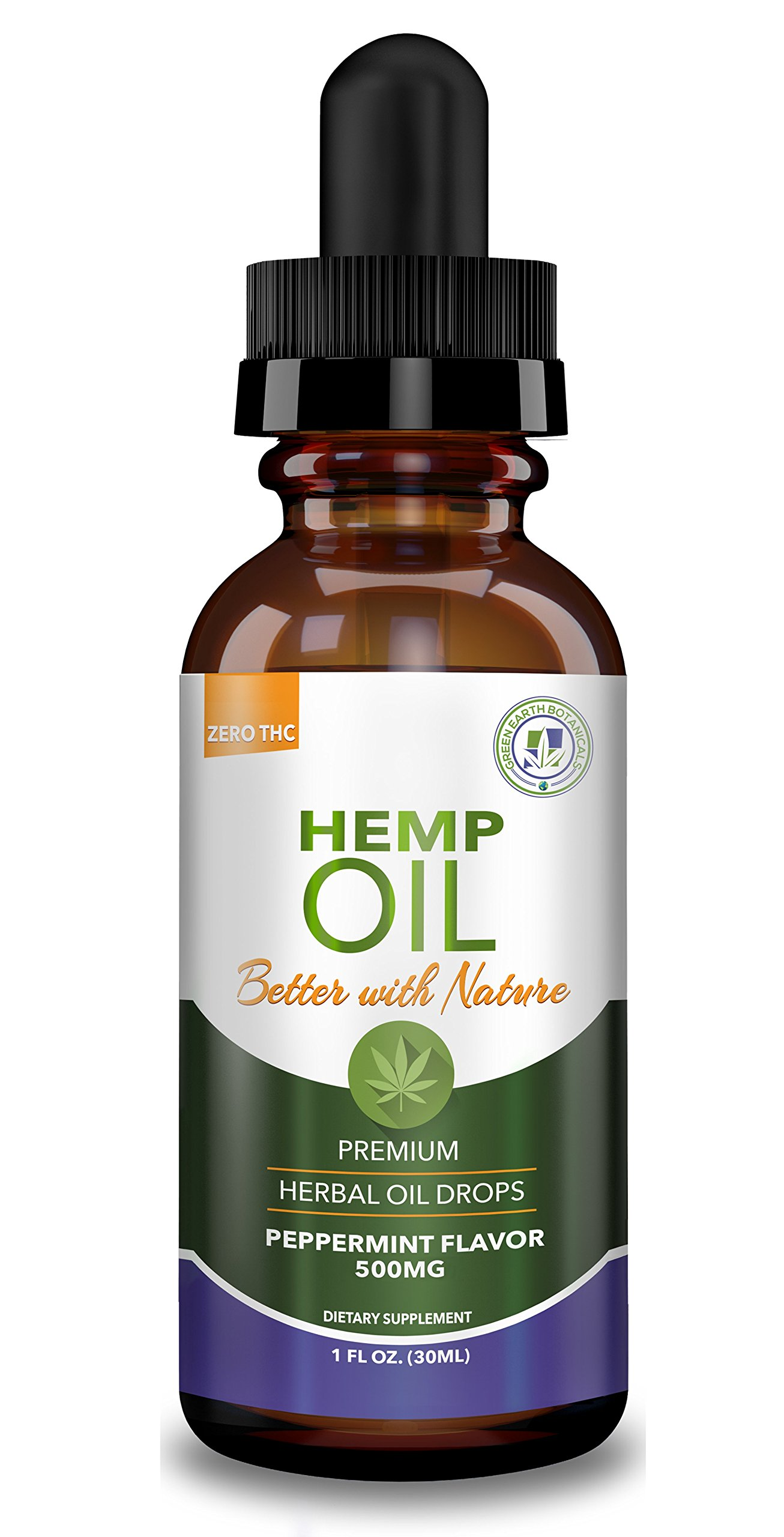 Hemp Oil 500mg for Fast Pain Relief :: Anxiety, Inflammation, Sleep, Nausea, Depression :: Premium Herbal Drops :: MCT Oil Packed with Omega 3,6 Fatty Acids :: Better with Nature 30 Day Supply