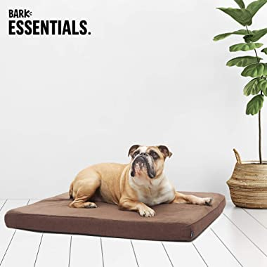 BarkBox Orthopedic Ultra Plush Pressure-Relief Memory Foam Dog Bed or Crate Mat Small-XL, 4 Colors | Removable Washable Cover, Squeaker Toy as Gift. Helps with Hip Dysplasia or Arthritis.