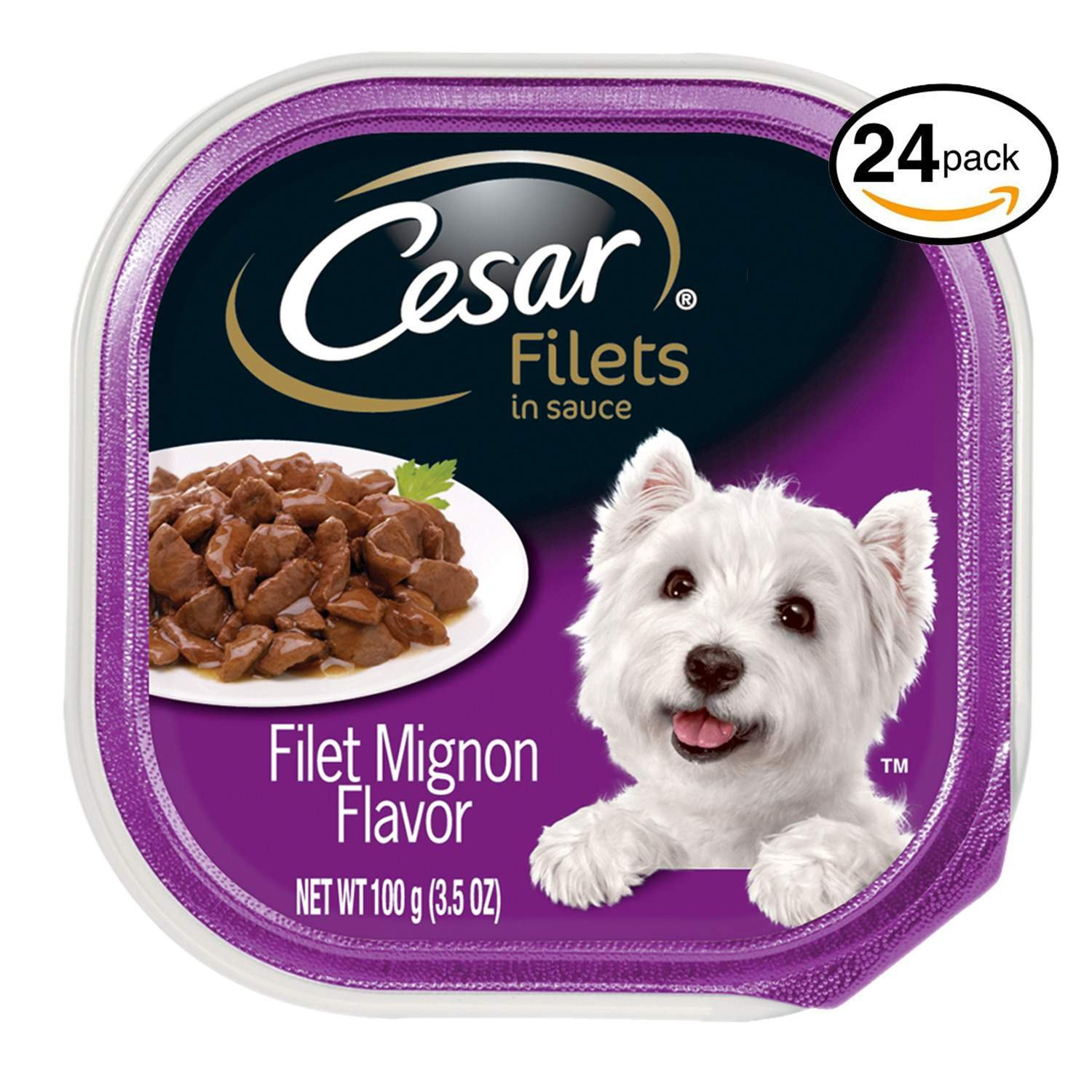Cesar CANINE CUISINE Wet Dog Food Filet Mignon Flavor, (Pack of 24) 3.5 oz. Trays