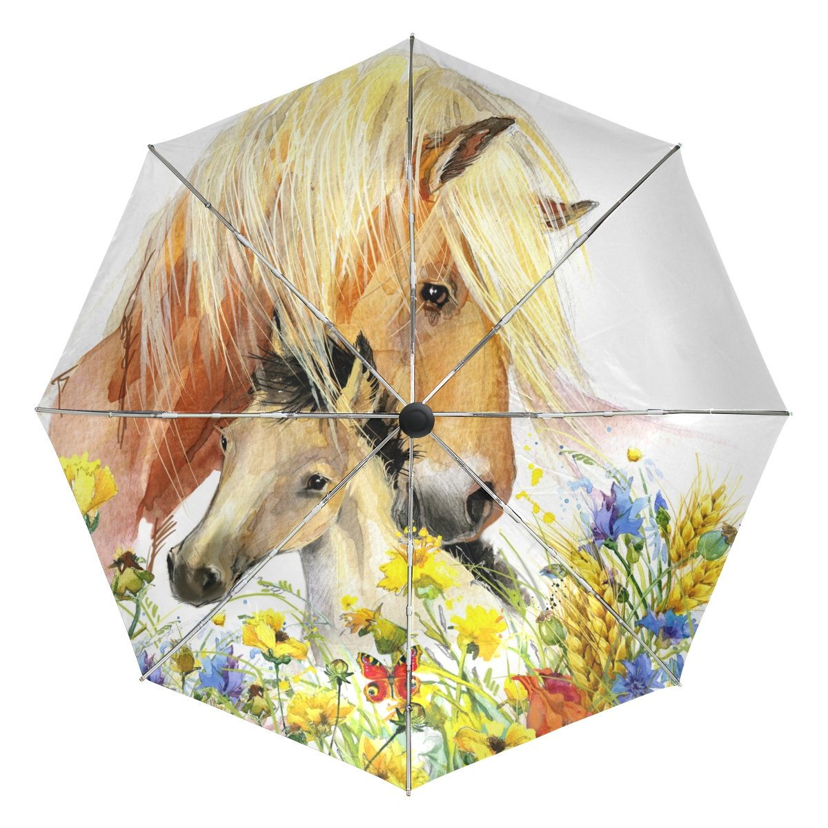 BAIHUISHOP Horse Windproof Umbrellas Auto Open Close 3 Folding Golf Strong Durable Compact Travel Umbrella Uv Protection Portable Lightweight Easy Carrying and Slip-Proof Handle   B071HL2TJN