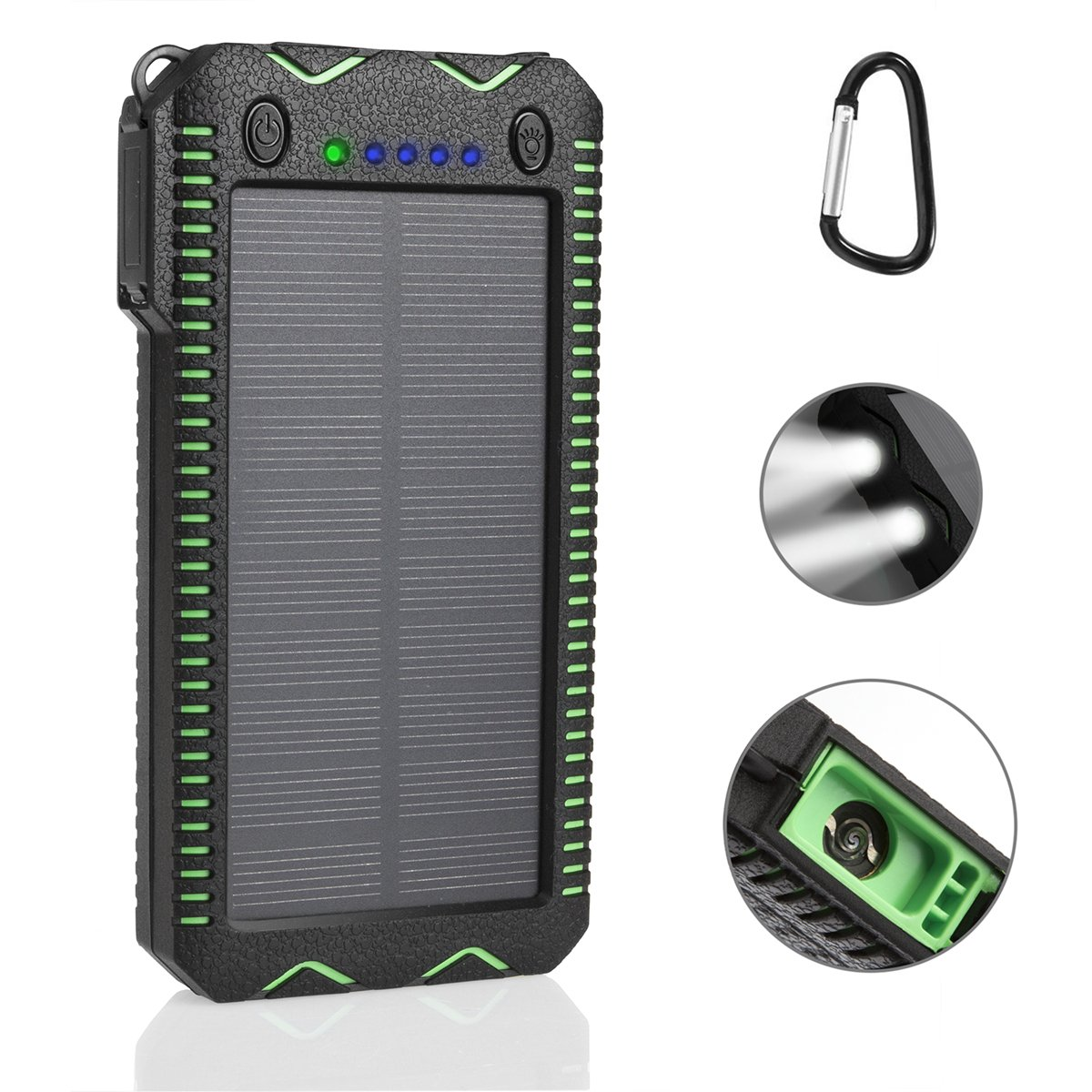 LANIAKEA 15000mAh Fire Starter Solar Charger, Dual USB External Battery Pack with 2 LED Lights Solar Panel Portable Charger Outdoor (Rainproof, Dust-proof, Shockproof), Green