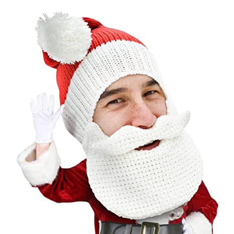 6706ae613aaa2 Image Unavailable. Image not available for. Color  Beard Head Knitted Santa  Beard Hat ...
