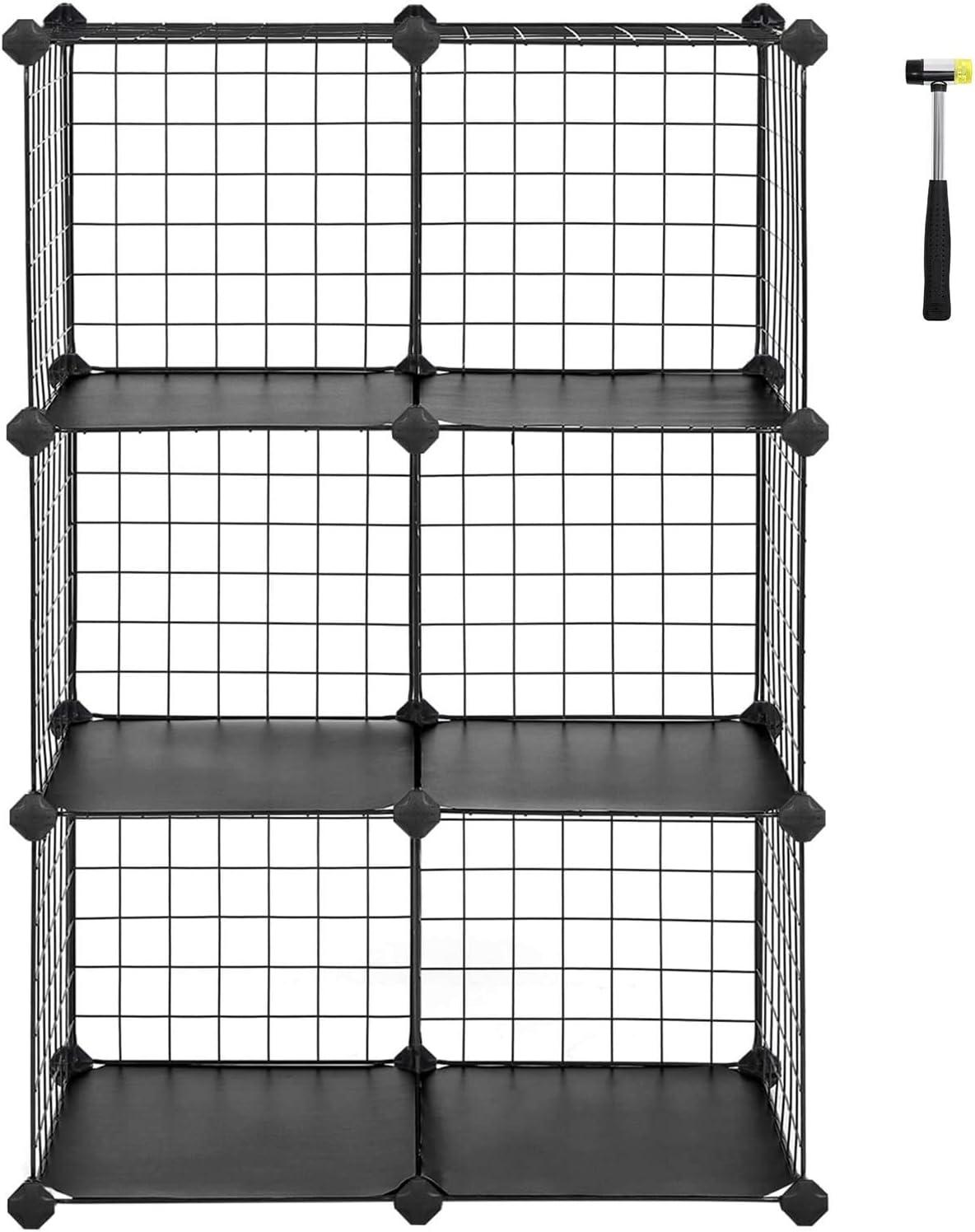 Scaffale a innesto Realizzato in Rete Metallica installabile singolarmente Armadietto per credenza cubo 63 x 31 x 93 cm Nero