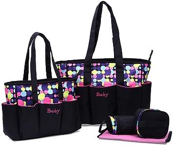 Juego de bolsas cambiador de pañales negro rosa