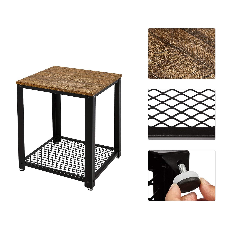 Coffee Table Industrial Style Living Room Hallway Meerveil Side Table Wood Look and Metal Frame Coffee Table Vintage Style