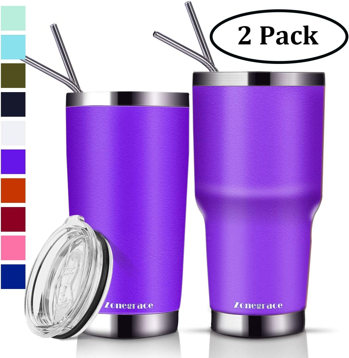 Zonegrace 2 Pack 20 oz and 30 oz Purple Tumbler with Straw Lid Travel Mug Gift Vacuum Insulated Coffee Tumbler Cup 18/8 Stainless Steel Water Tumbler