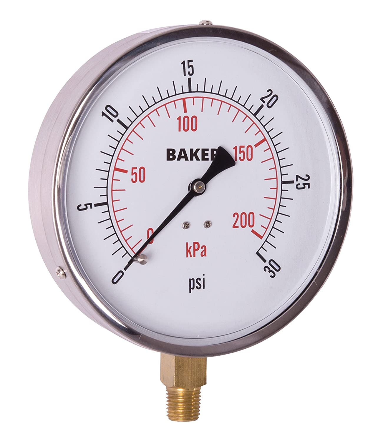 Baker Instruments AVND Series Stainless Steel Dual Scale Pressure Gauge 1//4 NPT Bottom Mount 4.5 Dial 1//4 NPT Bottom Mount Reed 421AVND-30 +//-1/% Accuracy 0 to 30 psi // kPa 4.5 Dial
