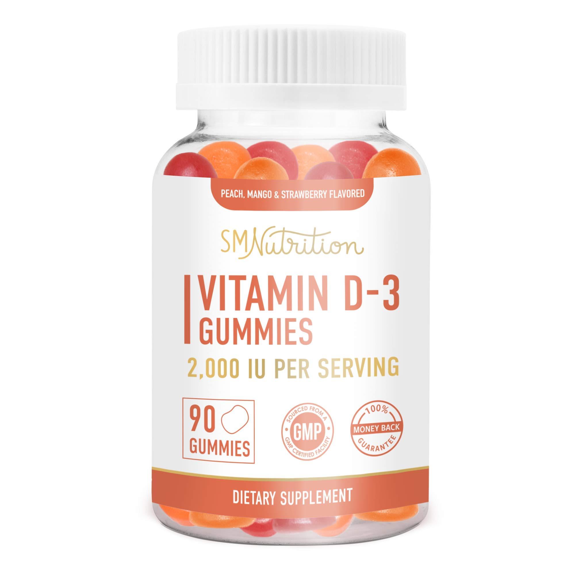 Vitamin D3 Gummies for Adults (90 Count) - 50mcg (2000 IU) - Bone Health*, Immunity*, & Mood Support* Gummies; Third-Party Tested.
