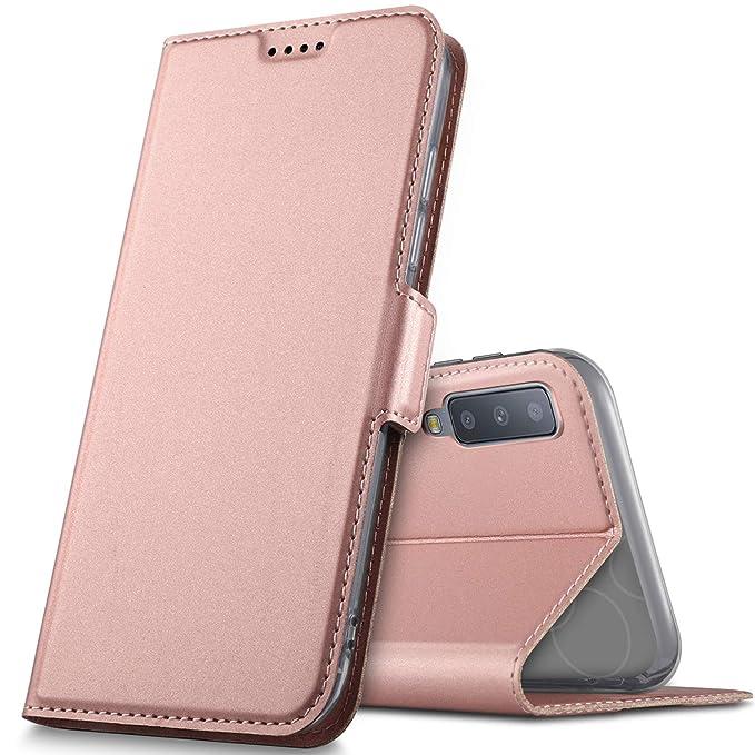 Geemai Samsung Galaxy A7 2018 Funda, Slim Case Protectora PU Funda Multi-ángulo a Prueba de Golpes y Polvo a Prueba de Silicona con Soporte Plegable para ...