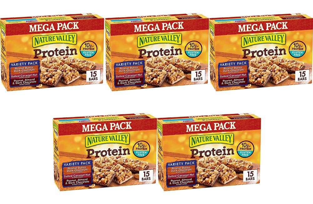 Nature Valley Peanut Butter Dark Chocolate, Salted Caramel Nut, Almond & Protein Chewy Bars, 15 Bars (5 Boxes)