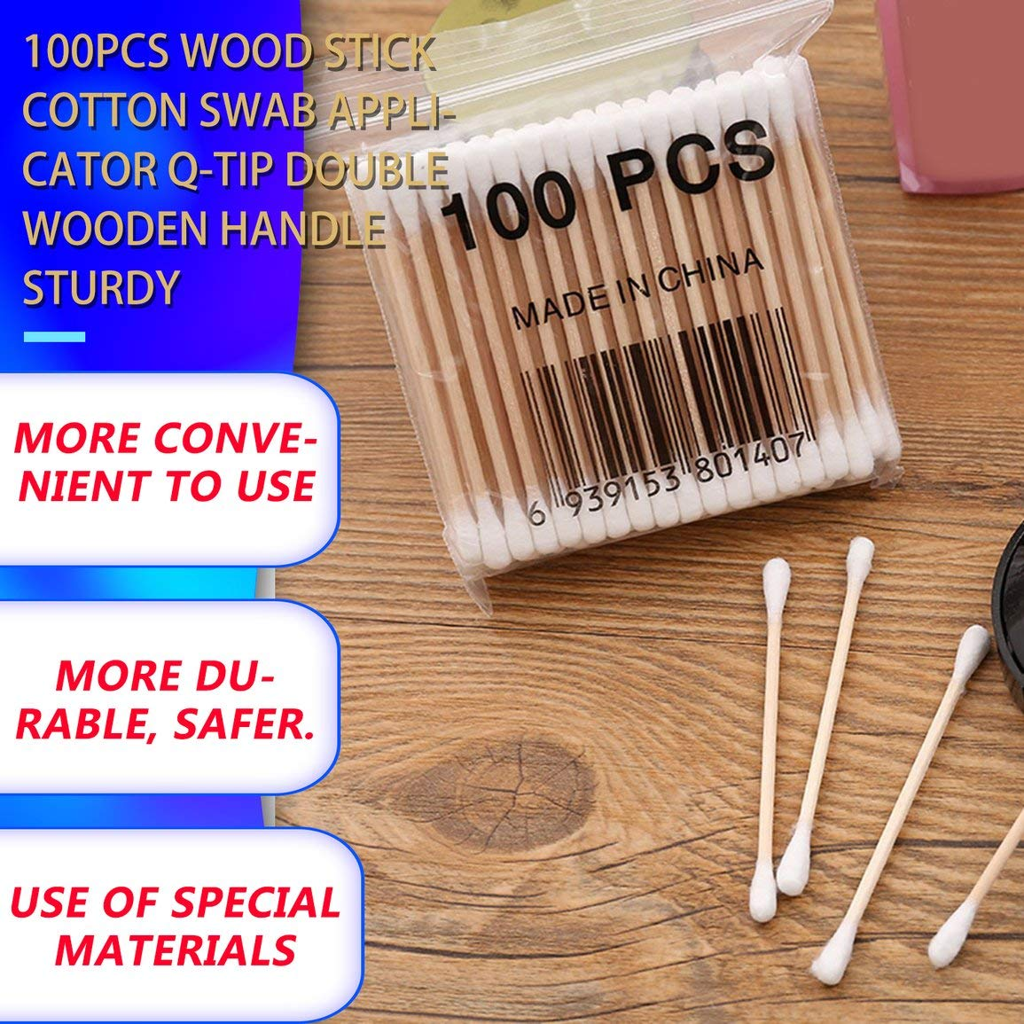 100 st/ücke Holz Stick Wattest/äbchen Applikator Q-tip Doppel Holzgriff Robust Farbe: Wei/ß