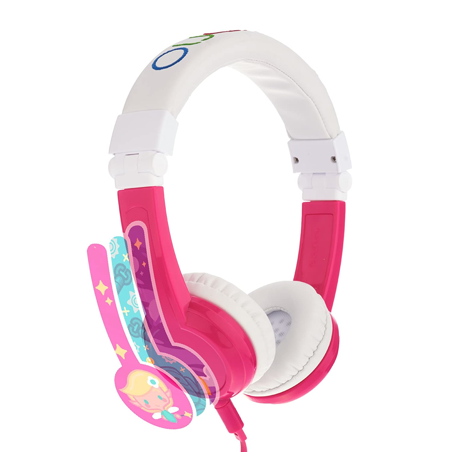 Explore Foldable Volume Limiting Kids Headphones - Durable, Comfortable & Customizable - Built in Headphone Splitter and In Line Mic - For iPad, Kindle, Computers and Tablets - Pink ONANDOFF BP-EX-FD-PINK-01-K