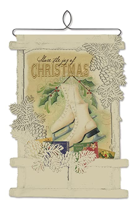 heritage lace christmas wall decor cafe joy of christmas skates card holder wall hanging - Christmas Card Holder Wall Hanging