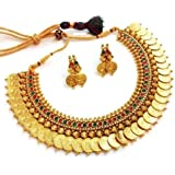 Zeneme Red & Green Temple coin Choker Jewellery set / Necklace Set for Women
