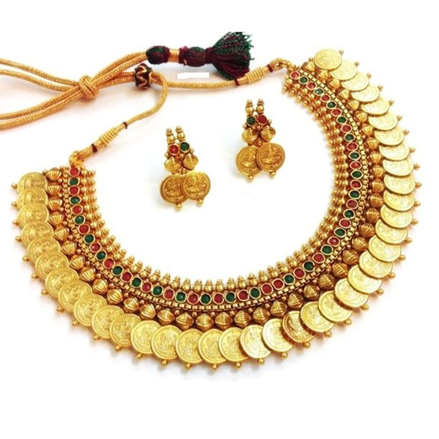 Buy Zeneme Red Green Temple coin Choker Jewellery set Necklace