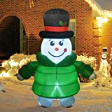 GOOSH 6Foot High Christmas Inflatable Blow up Down-Filled Coat Snowman Holiday Yard Decoration, Indoor Outdoor Garden Inflata