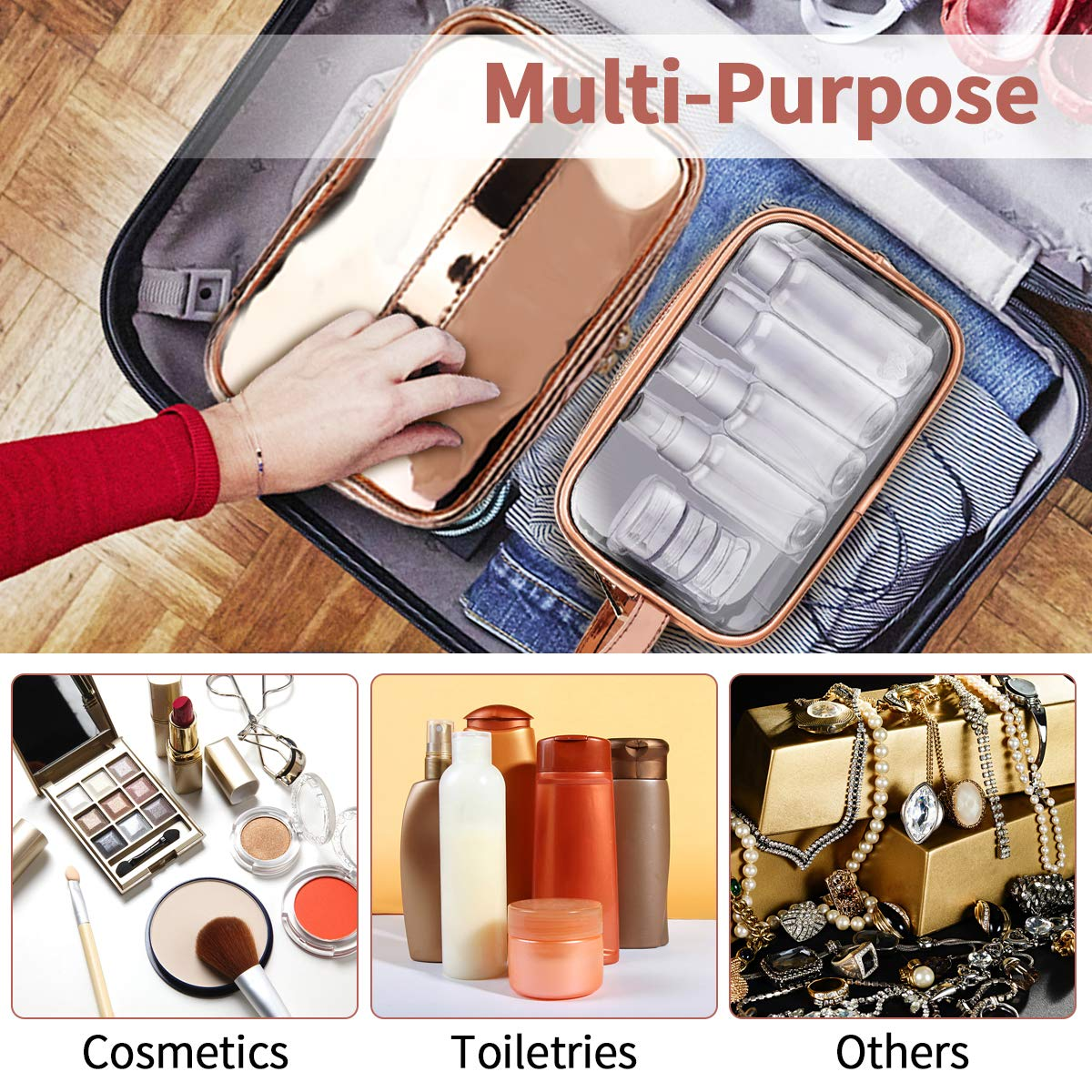 Cosmetic Bag & Clear Toiletry Bag Set, Morpilot Fashionable Portable Women Makeup Cosmetic Travel Bags with TSA Approved Toiletry Travel Bag Organizer for Packing Cosmetic Makeup Toiletry Accessories
