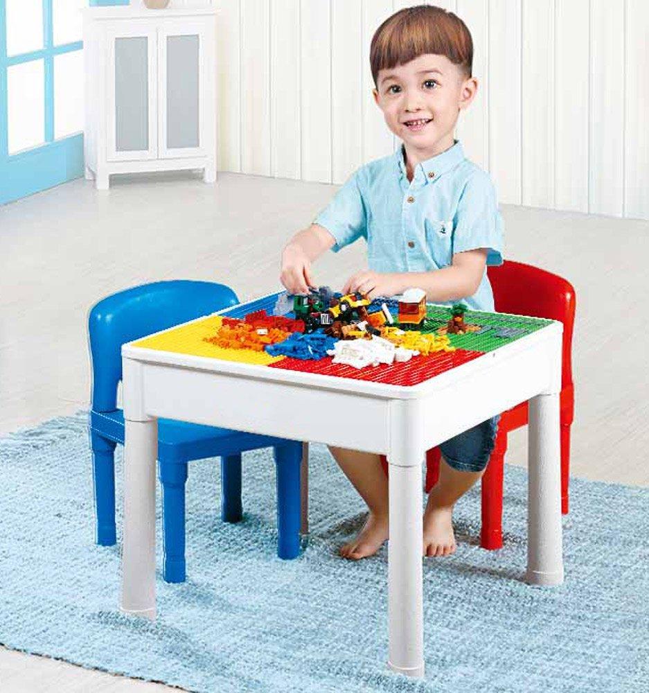 Brigamo Salon de Jardin 3 en 1 avec Table de Jeu et 4 plaques de Construction inté gré es pour Jouets de Construction et chaises