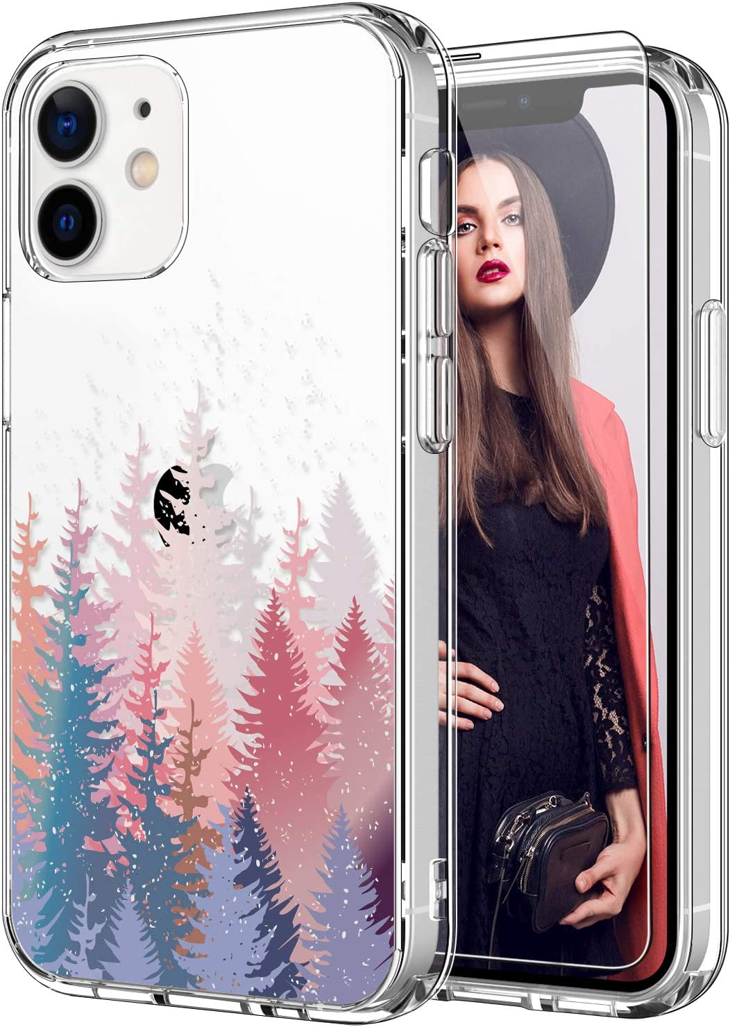 ICEDIO for iPhone 12 Mini Case with Screen Protector,Clear with Cute Trees Floral Flower Patterns for Girls Women,Shockproof Slim Fit TPU Cover Protective Phone Case for iPhone 12 Mini 5.4