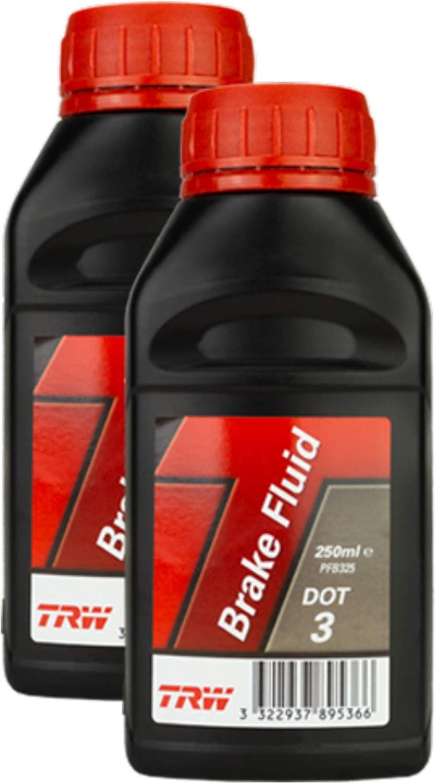 2x Trw Bremsflüssigkeit Brake Fluid Dot 3 250 Ml Pfb325 Auto