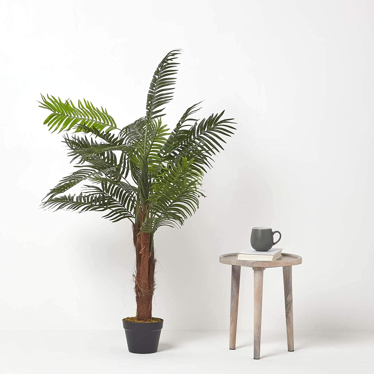 HOMESCAPES Artificial Mini Palm Tree Tropical Office Conservatory Indoor Plant Green 120cm// 4 ft with Black Pot