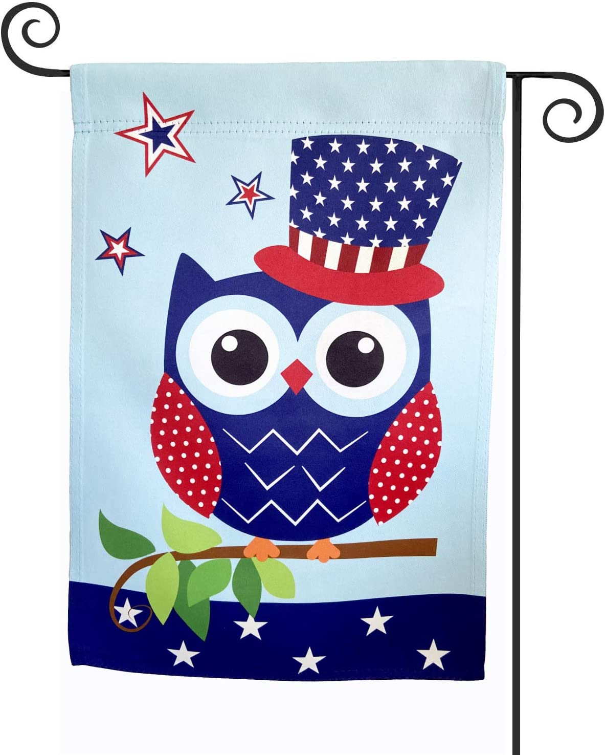 TOPFLAGS Owl Garden Flags Double Sided- 12.5 x 18 Inch Top Hat Big Eyes in The Tree Yard Flag for House Outdoor Decoration