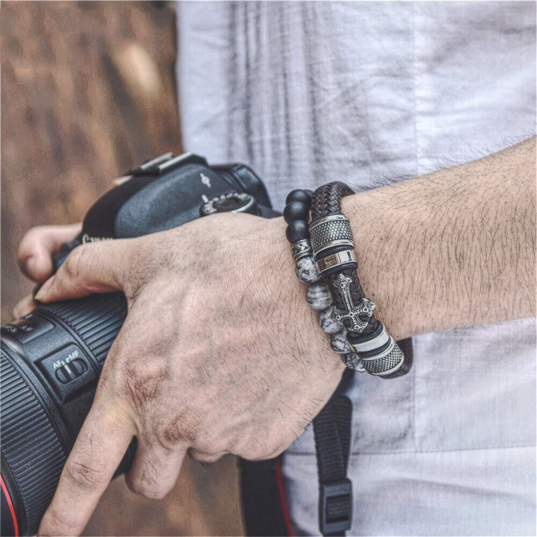 Desirca 12mm Width Braided Leather Men Bracelets Stainless Steel Cross Charms Cuff Bracelets Bangles Trendy Male Jewelry