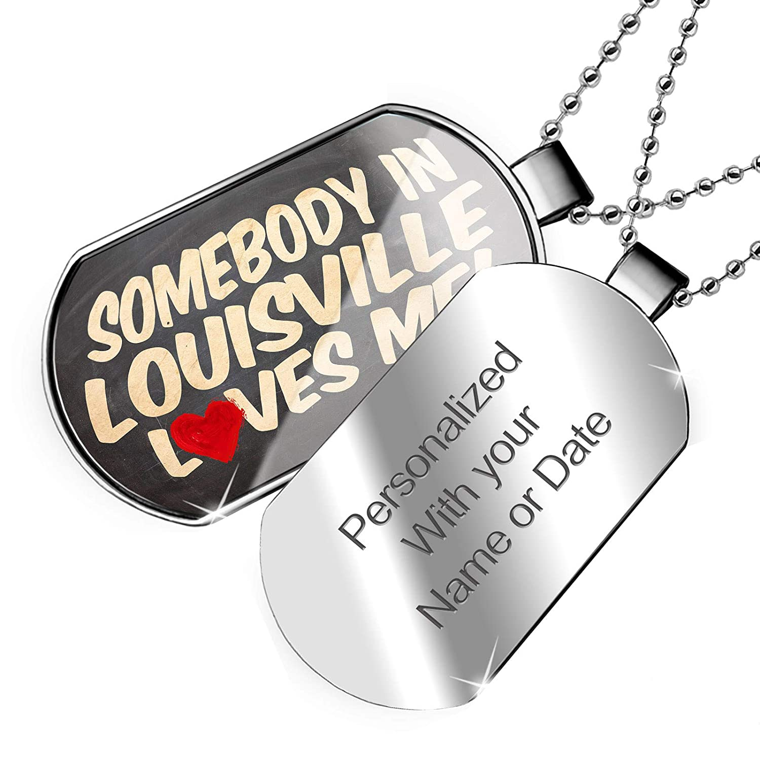 Kentucky Dogtag Necklace NEONBLOND Personalized Name Engraved Somebody in Louisville Loves me