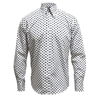 Relco White Long Sleeve Button Down Mod 60's Shirt With Navy Polka ...