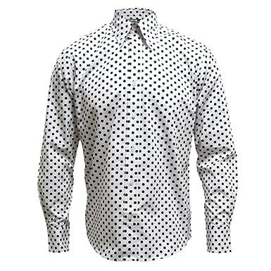 Black and white polka dot button down shirt mens custom shirt for Button down polka dot shirt