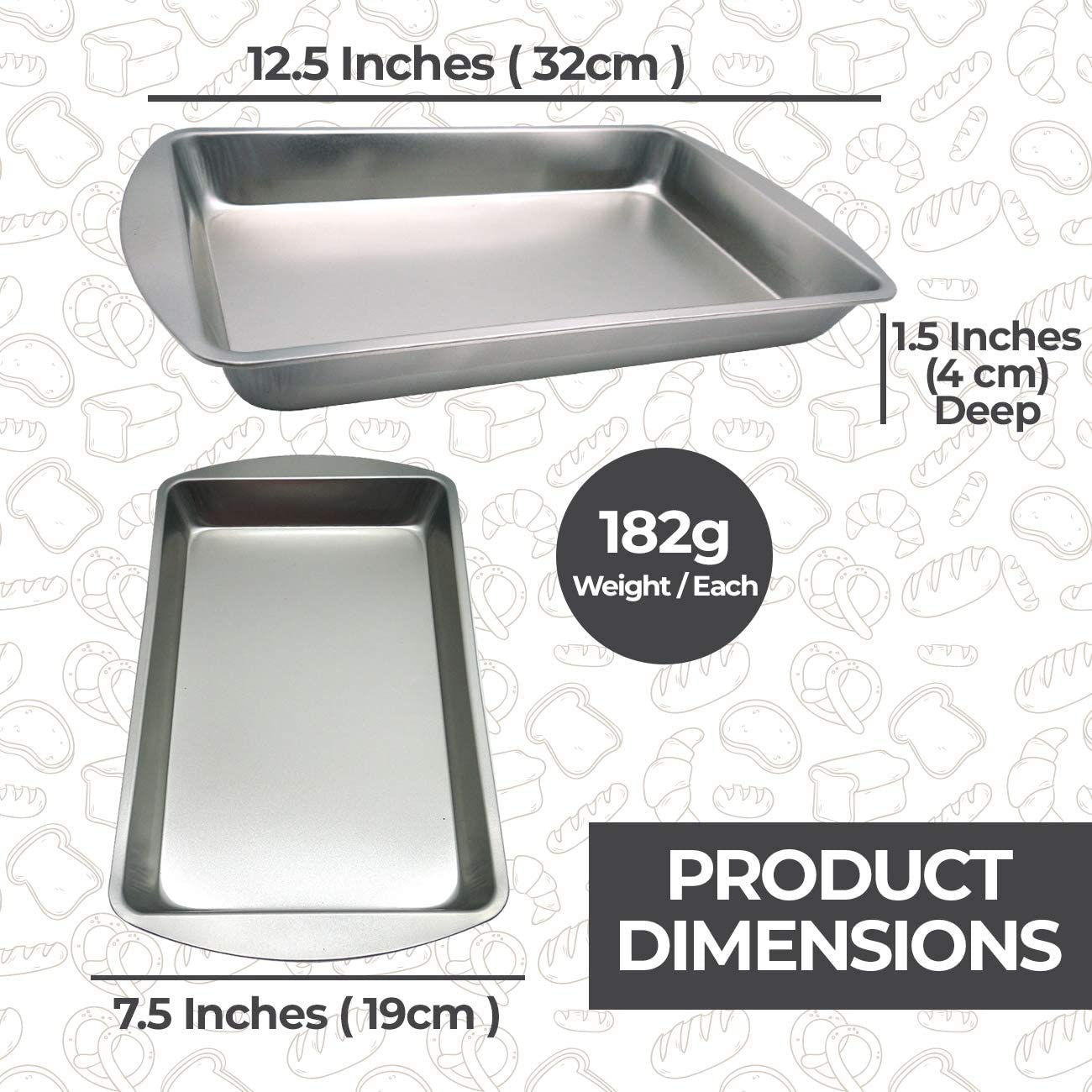 Oven Baking Tray Rectangular with Non-Stick Coating x 2 Deep Pan for Baking Lasagne /& Pies by Every Chef Essentials