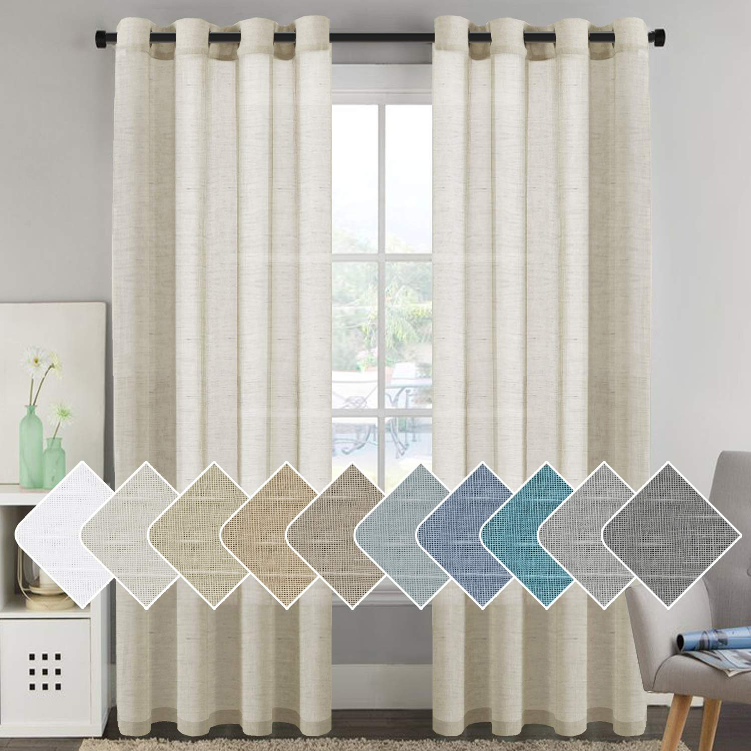 H.VERSAILTEX Home Decorative Privacy Window Treatment Linen Curtains/Natural Linen Blended Sheer Curtains/Panels/Drapes, Nickel Grommets, Natural Color, 96 Inches Long Living Room Curtains by H.VERSAILTEX