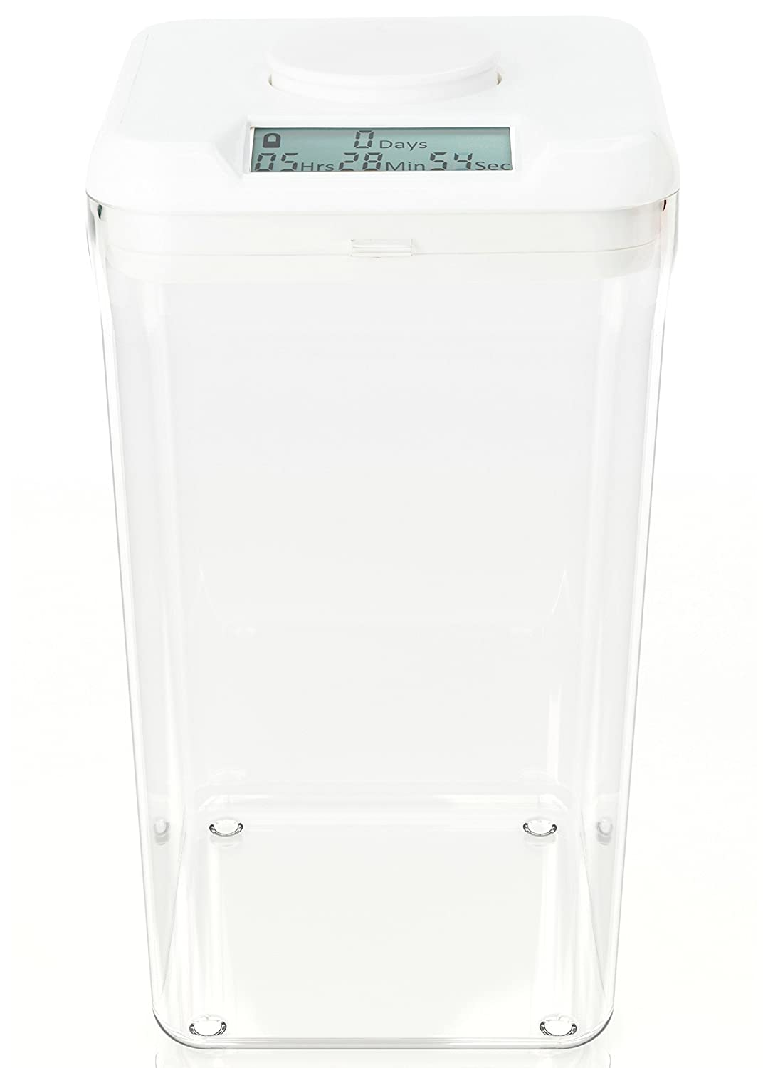 "kSafe XL: Time Locking Container to limit drinking and other vices. 10.4"" inside height. (White Lid + XL Clear Base)"