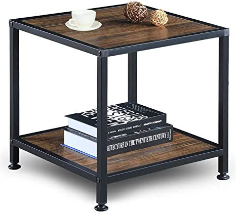 Greenforest End Table With Storage Shelf 2 Tier Metal Frame Side Table For Living Room Bedroom Easy Assembly Walnut Home Kitchen