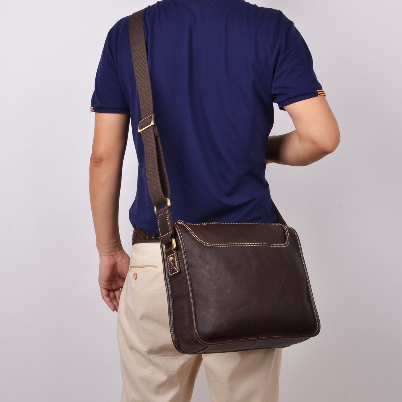 ALTOSY Vintage Leather Messenger Bag for Laptop Business Office Shoulder Satchel 8098, Coffee