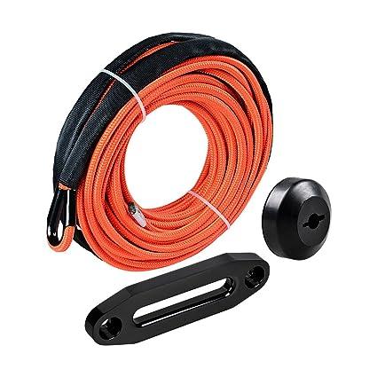 Black Rope Stopper Black CNC Machined 6061 Aluminum Hawse Fairlead 3//16 x 50 Black Synthetic Winch Rope w//Heat Guard